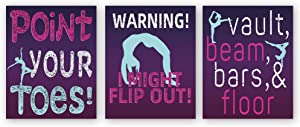 """Colorful Girl Gymnastics Art Print,Set Of 3 (8""""X10"""",Unframed) Gymnast Canvas Paintings Print,Inspirational Quotes Sports Themed Wall Art For Girl Bedroom Decor"""