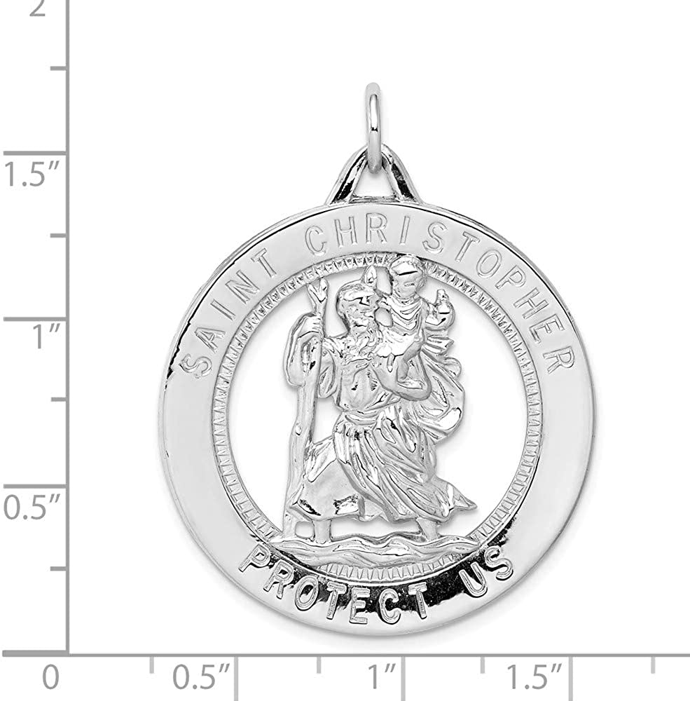 FB Jewels Solid 925 Sterling Silver Rhodium-Plated Saint Christopher Medal