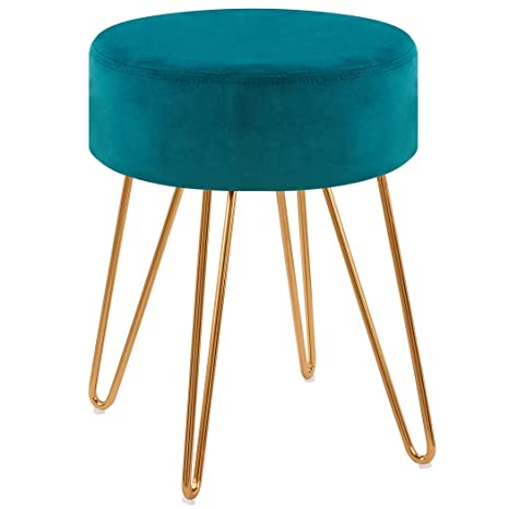 Pleasing Duhome Elegant Lifestyle Small Round Velvet Ottoman Upholstered With Gold Plating Base Footstool Rest Extra Seat Pack Of 1 Atrovirens Gmtry Best Dining Table And Chair Ideas Images Gmtryco