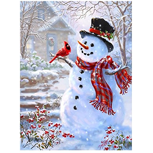 Sqailer 5D DIY Diamond Painting Full Square Drill Snowman Rhinestone Embroidery for Wall Decoration 12X16 inches