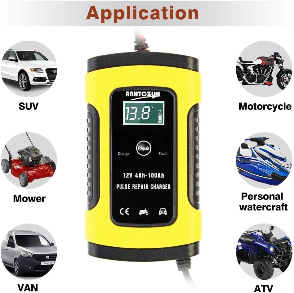 12V LCD /Écran avec Protections Multiples Type de r/éparation pour Batterie de Voiture Moto NWOUIIAY Chargeur de Batterie Intelligent Portable 6A