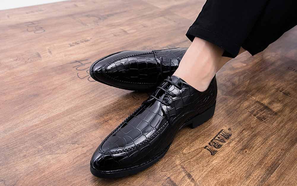 GLSHI Uomini Britannico Britannico Britannico Casuale Derby Moda Appuntito Pelle Scarpe di Moda attività Commerciale Pelle Scarpa (colore   Nero, Dimensione   40) 9b6529
