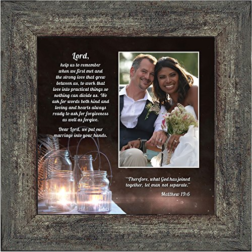 Bible Wedding Gift (Marriage Prayer with Scripture, A Matthew Bible Verse, True Love Picture Frame, 10x10 6374BW)