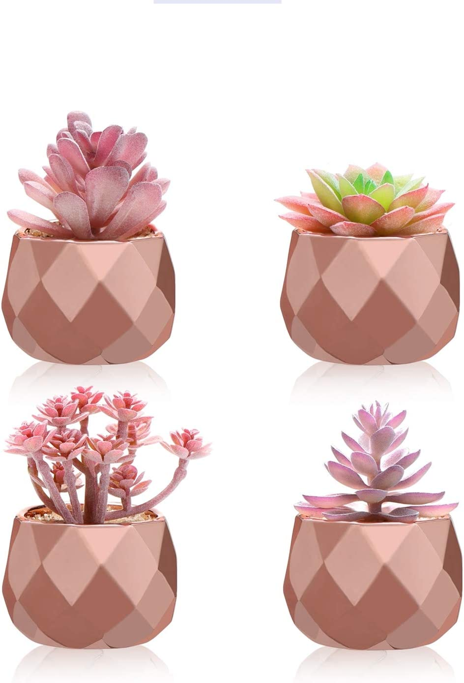 CADNLY Artificial Succulents Plants in Pots - Rose Gold Room Decor Desk Accessories for Women Office - Small Fake Plant Decor for Bedroom Bathroom Living Room Home Decorations Set of 4