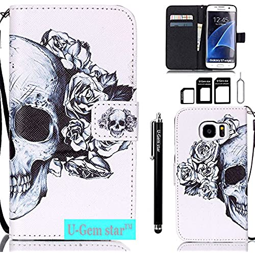 Galaxy S7 Edge Case, Galaxy S7 Edge Wallet Case, U-Gem star Cover Flip Folio Full Body Protection with Stand Feature Sales