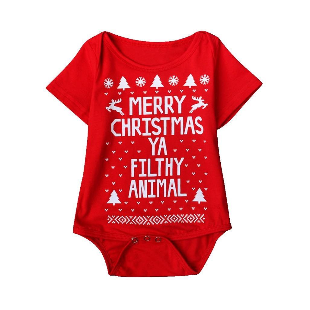 Clode for 0-18Months, Newborn Baby Boys Girls Printed Christmas Romper Bodysuit Jumpsuit Xmas Clode-AC-818007