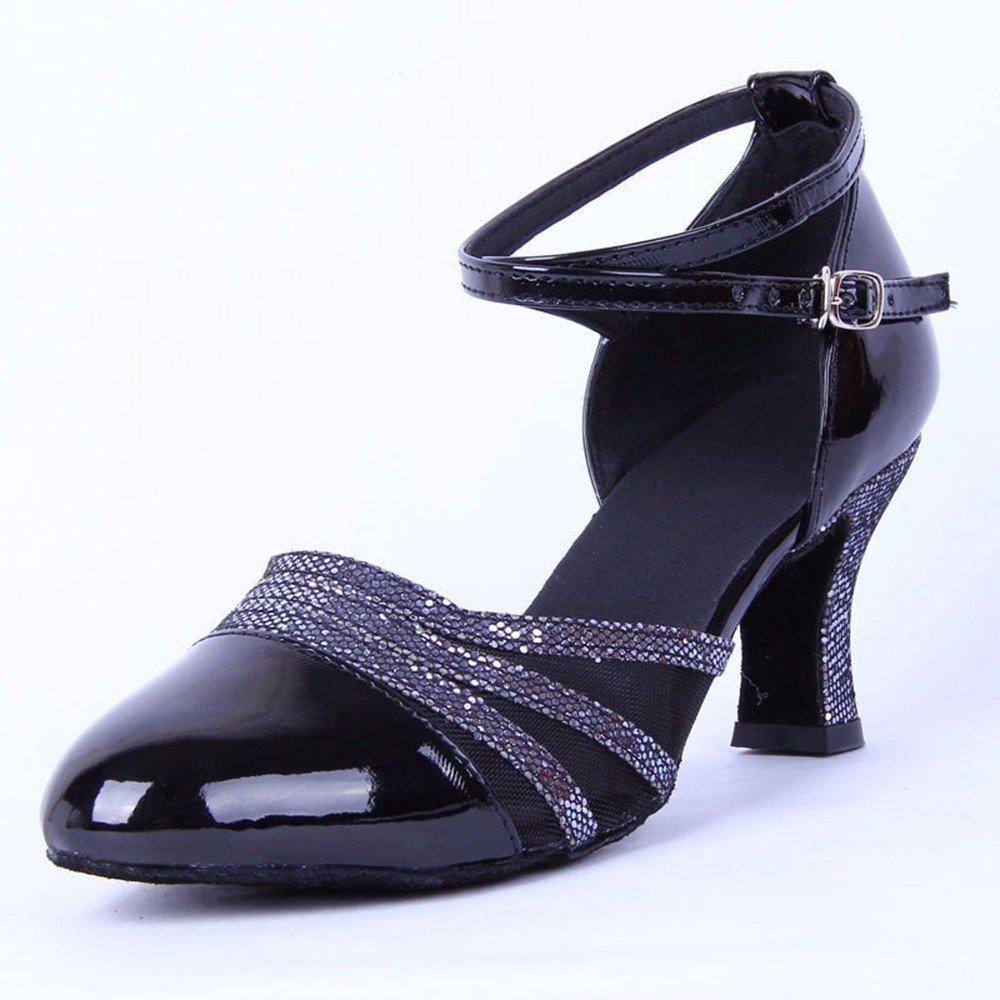 noir US6 EU36 UK4 CN36 Masocking@ Femme Chaussures de Danse Sandales Fermer les orteils chaussure danse voitureré fond mou
