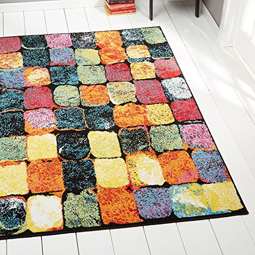 Modern 2x3 Abstract Multi-Color Blocks Squares Accent Mat - Actual 1' 6