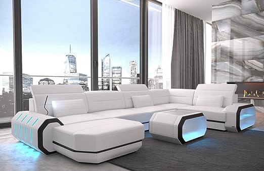 Divano Di Pelle Bianco.Sofa Dreams Roma U Divano In Pelle Colore Bianco Nero Amazon