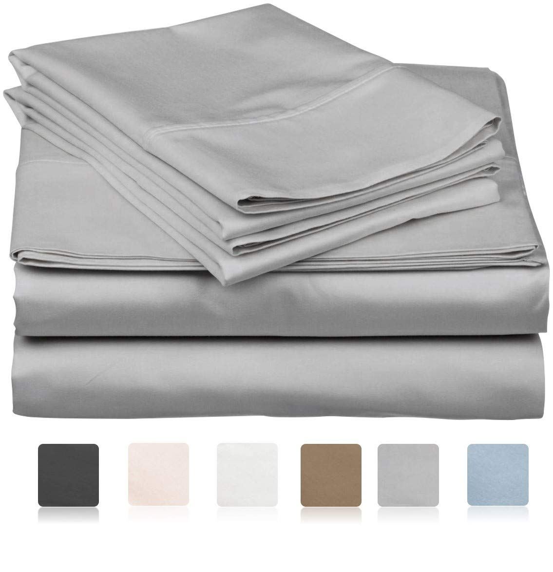 600 Thread Count 100% Long Staple Soft Egyptian Cotton SheetSet, 4 Piece Set, TWIN SHEETS,upto 17'' Deep Pocket, Smooth & Soft Sateen Weave, Deep Pocket, Luxury Hotel Collection Bedding, SILVER