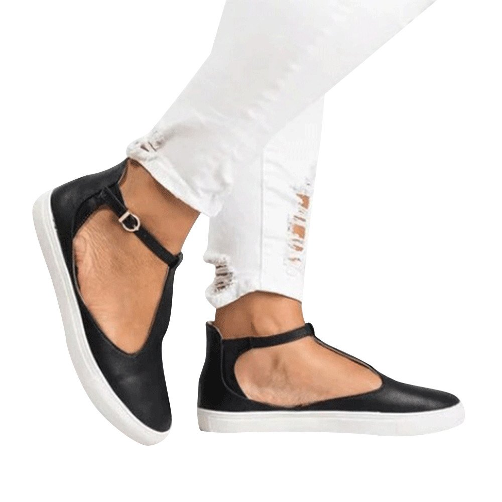 Amlaiworld Women Vintage Out Shoes Round Toe Single Shoes Platform Flat Heel Buckle Strap Casual Shoes Black by Amlaiworld