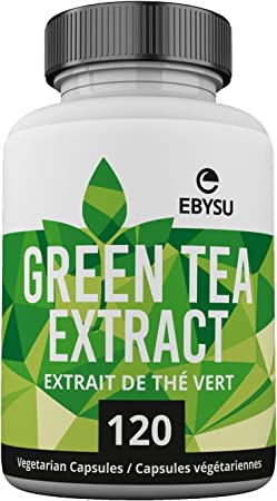 EBYSU Green Tea Extract - 120 Day Supply – 500mg Vegan Capsules with ECGC for Energy Boost & Weight Loss – Made in USA, Non GMO Supplement Pills