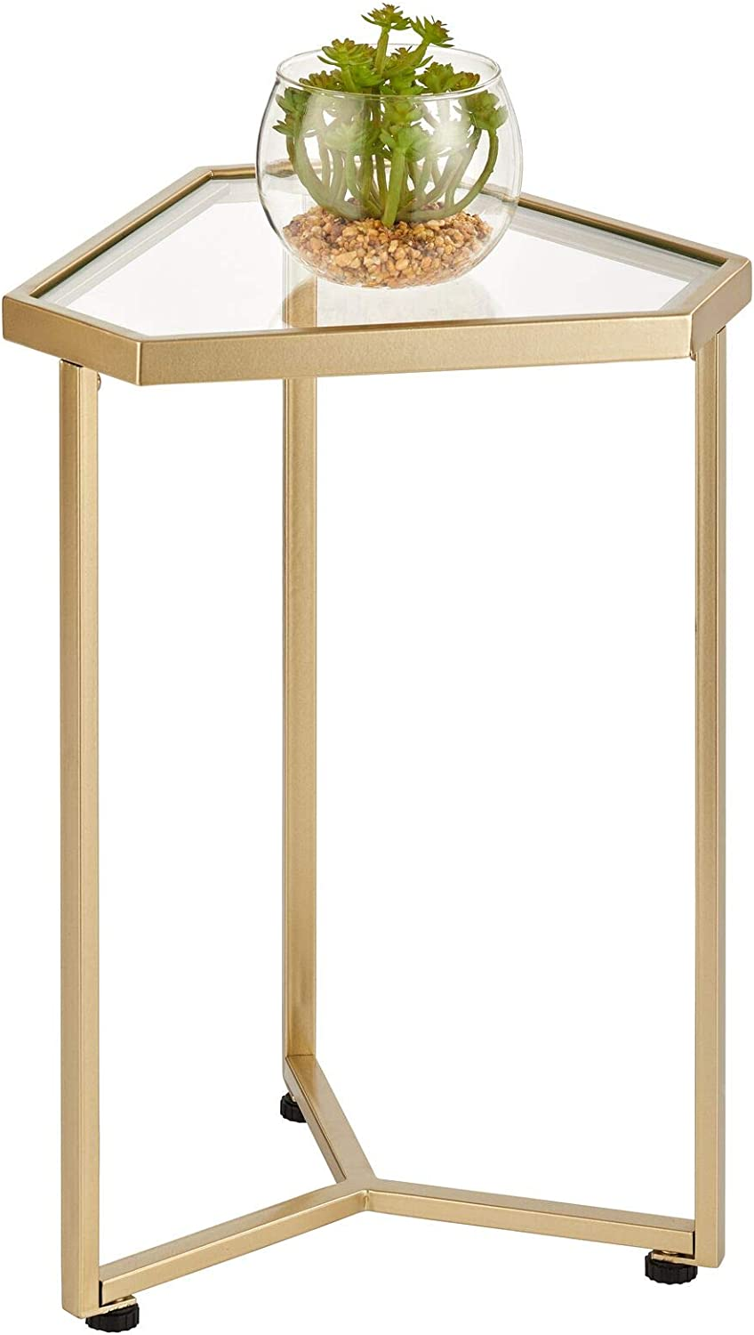 mDesign Triangle Metal & Glass in-Lay Accent Table - Side/End Table - Decorative Legs, Glass Top - Home Decor Accent Furniture for Living Room, Bedroom - Soft Brass/Glass