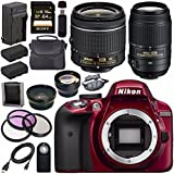 Nikon D3300 DSLR Camera with AF-P 18-55mm VR Lens (Red) + Nikon 55-300mm f/4.5-5.6G ED VR Lens + EN-EL14 Replacement Lithium Ion Battery + External Rapid Charger + Carrying Case Bundle