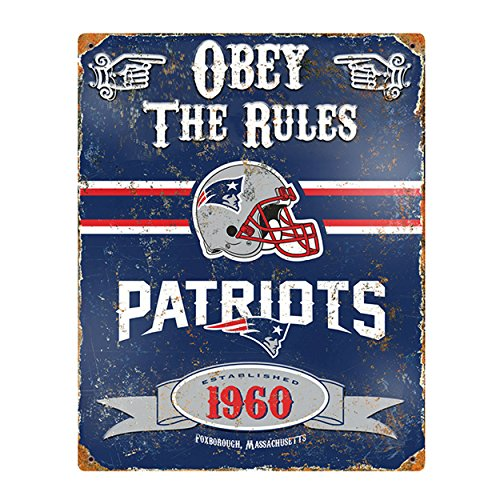 (Party Animal NFL Embossed Metal Vintage New England Patriots Sign)