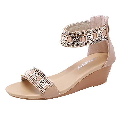 791ddc9f85d Hurrybuy Womens Studded Roman Sandals Round Toe Wedges Gladiator Sandals  Beige