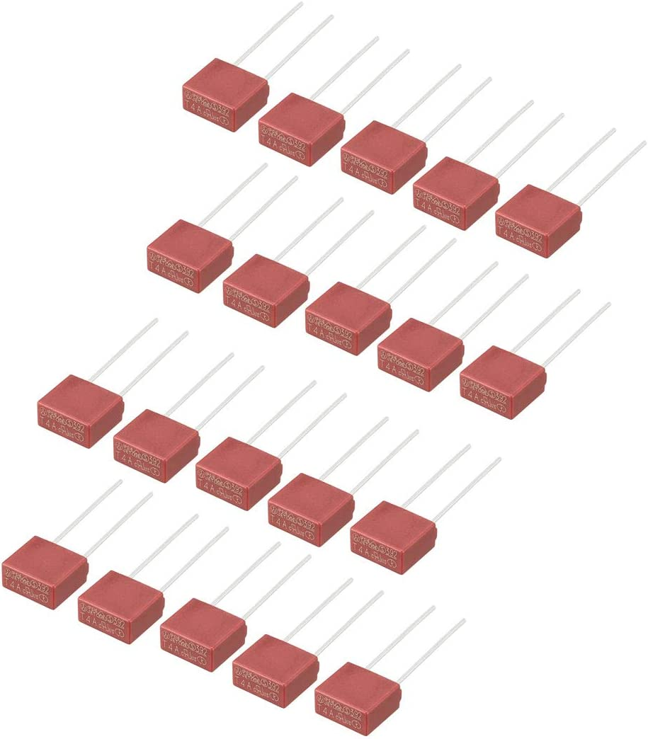 sourcing map 10Pcs DIP Mounted Miniature Square Slow Blow Micro Fuse T5A 5A 250V Red