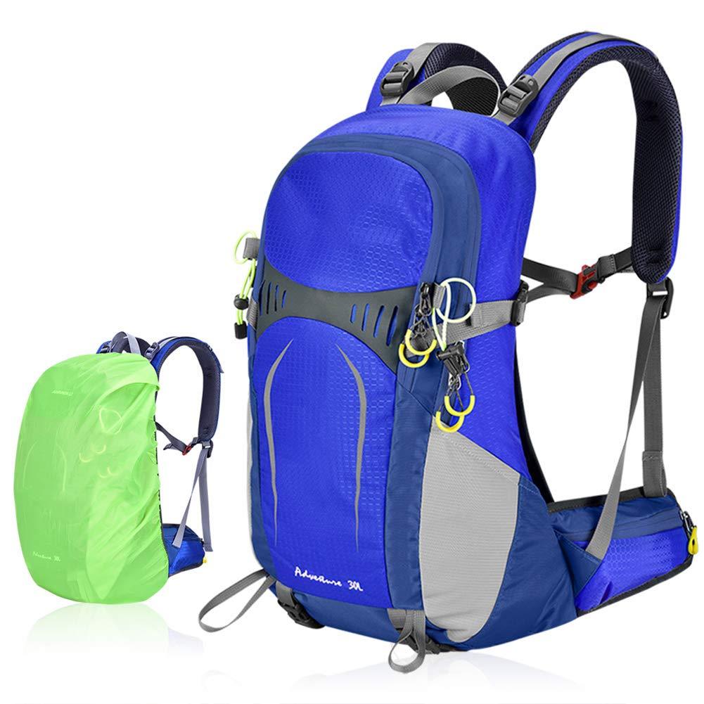 GYFHMY 30L Interner Rahmen Wanderrucksack - wasserdichte Bergsteigerrucksäcke mit Regenschutz - Bequeme und atmungsaktive Rückenstütze - für Trekkingklettern