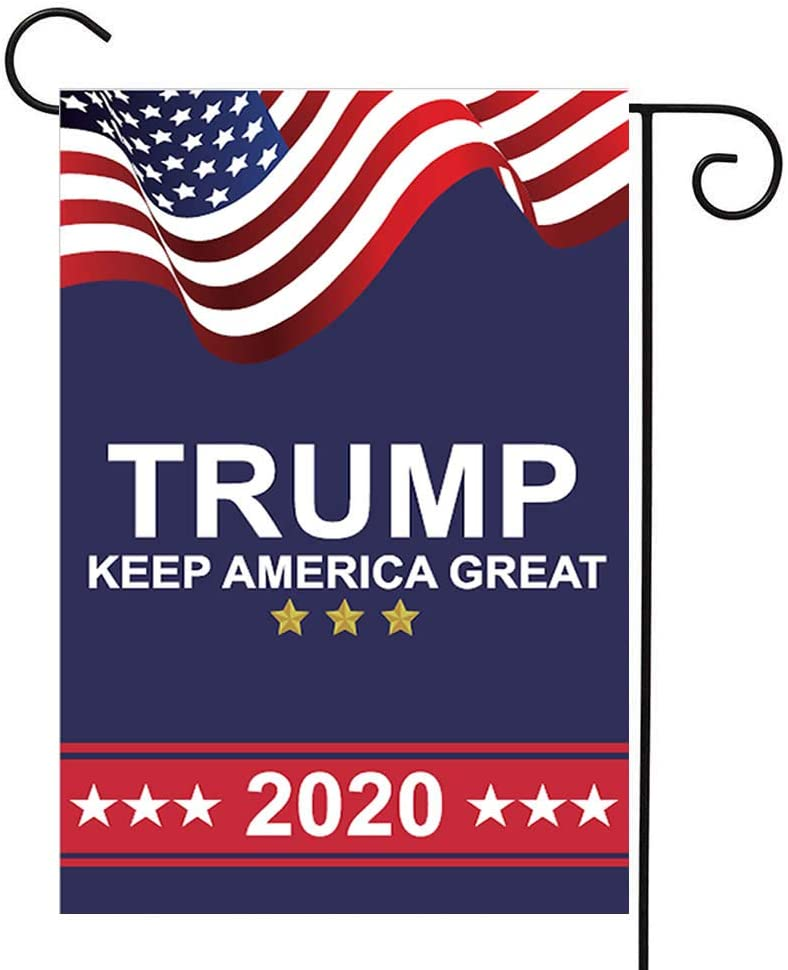 Homissor Donald Trump 2020 Garden Flags- Keep America Great Again Double Sided Yard Flag Banner Lawn Outdoor Decoration Election Day 12.5x18 Inch