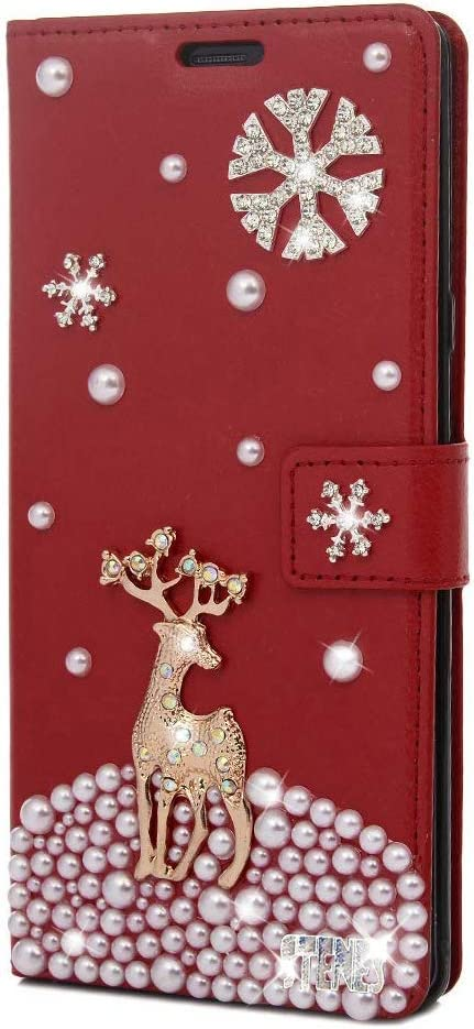 STENES Bling Wallet Phone Case Compatible with Samsung Galaxy S20 FE Case - Stylish - 3D Handmade Snow Deer Design Leather Cover with Neck Strap Lanyard [3 Pack] - Red