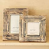 Paper High Antique White Carved Mango Wood Photo Frame Large fits 4'' x 6'' photo