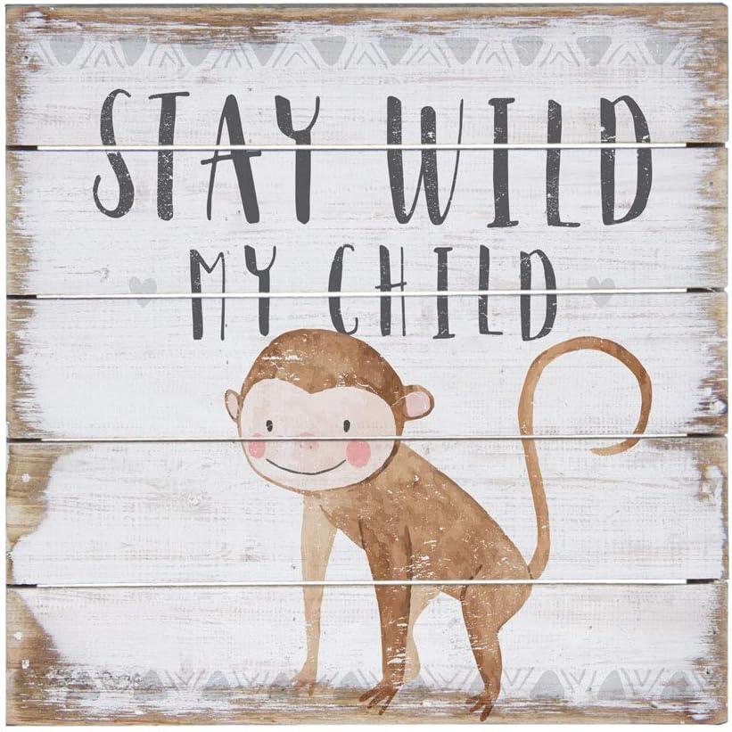 "Simply Said, INC Perfect Pallet Petites 8"" Wood Sign - Stay Wild My Child - Monkey Nursery Decor"