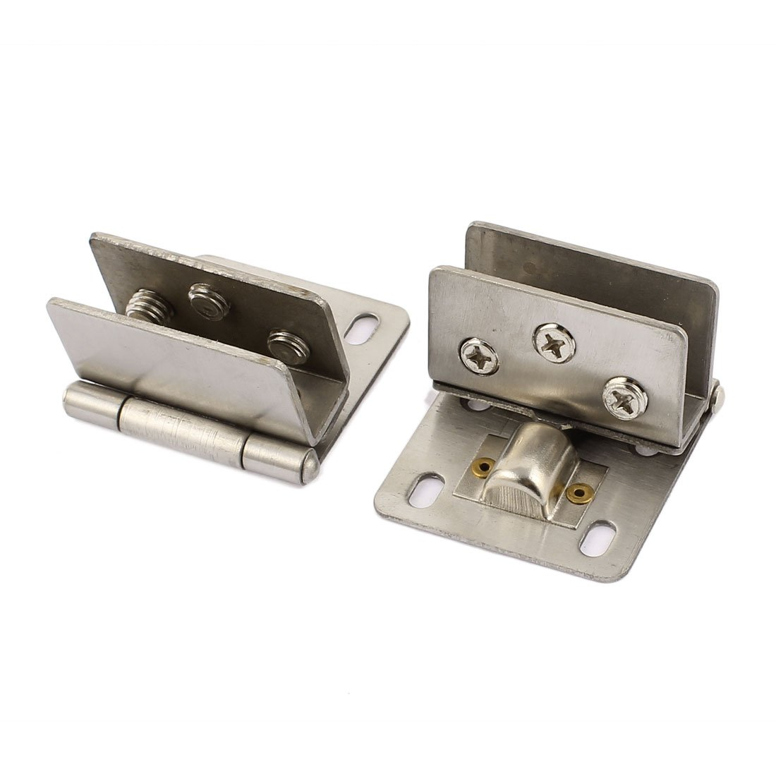 uxcell Cabinet Door Catch Hinge 2pcs for 8.5mm-13mm Thickness Glass Silver Tone