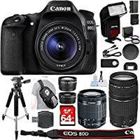Canon EOS 80D Digital SLR Camera + 18-55mm STM + Canon 75-300mm III Lens + SD Card Reader + 64gb SDXC + Remote + Complete Cleaning Kit + Accessory Bundle - New International Version