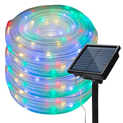 Ecohut Solar Outdoor Rope Lights 100 LED Multi-Color Clear String Light 40 feet IP65 Water Frost Resistance for Garden Yard Fence Path Patio frontdoor Christmas Tree Decoration Home Dancing Party: Home Improvement