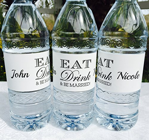 20 Personalized EAT Drink & BE MARRIED! Wedding Themed Waterproof Water Bottle Labels/Stickers, Make Your Own Great Party (Make Your Own Water Bottle Labels)