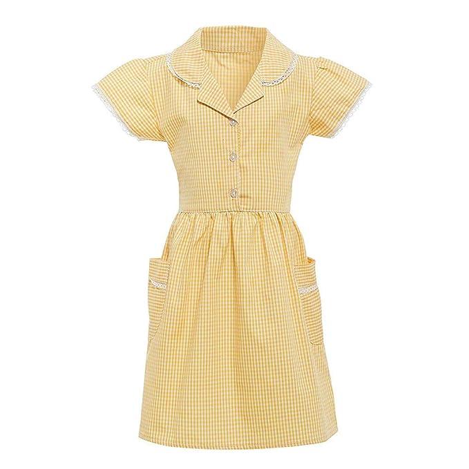 Ywoow Kids Clothes Women\u0027s Dresses Gingham Princess Turndown