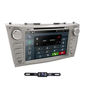 Hizpo Car DVD Player for Toyota Camry 2007 2008 2009 2010 2011 Android 8.1 Quad Core 8 Inch Screen GPS Navi BT Radio RDS DTV AUX USB Android/iPhone Mirrorlink SWC Rearview Camera USA Map