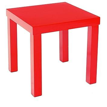 Table Basse Carree 45x45x45 Laquee Rouge Amazon Fr Cuisine Maison