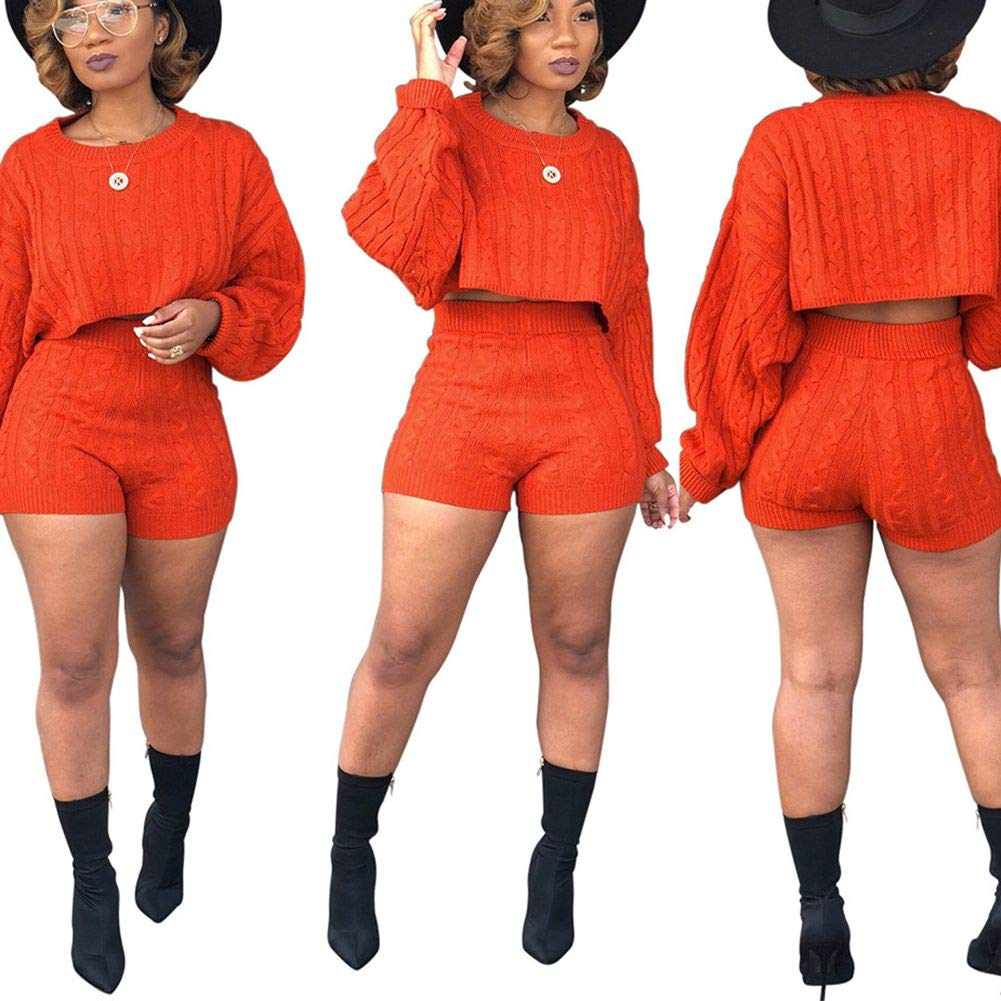 Two Piece Set Women Long Sleeve Knit Sweater Tops and Biker Short Pants