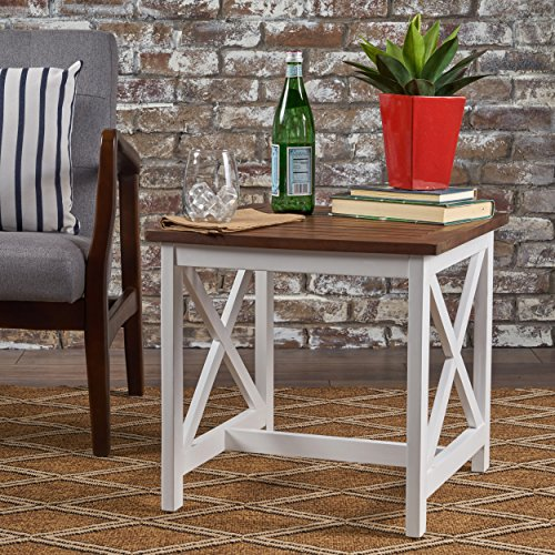 GDFStudio 302145 Selvan Indoor Farmhouse Cottage Dark Oak Acacia Wood End Table with White Frame, Brown