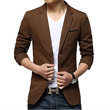 iPretty Men's Suit Jacket Fashion Slim Cotton Thin Casual Two ...