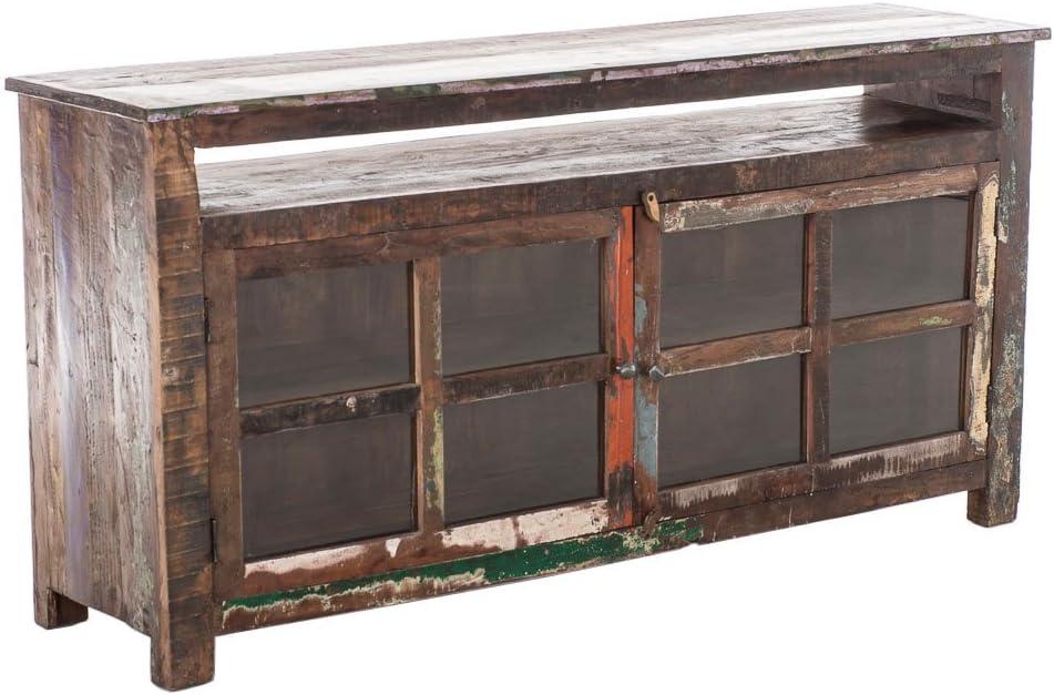 CLP Mueble para televisor SAGUNA Reciclado Teca sólida con 2 estantes y Puerta de Cristal, 180 x 45 cm, Altura 90 cm, Multi: Amazon.es: Hogar