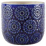 "Stone & Beam Modern Stoneware Floral Embossed Planter, 6""H, Blue"