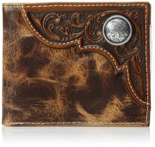 Distressed Tri Fold Wallet - Ariat Men's Distressed Corner Over Circle Trifold Wallet, tan, One Size