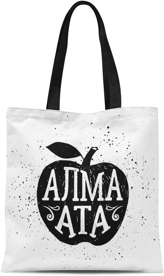 Semtomn Cotton Canvas Tote Bag Stamp Badge Apple and Almaty City Lettering in Reusable Shoulder Grocery Shopping Bags Handbag Printed