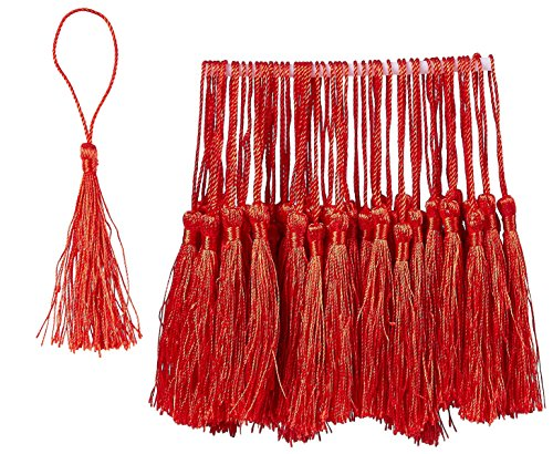Bookmark Tassels - 150-Pack Silky Floss Tassel Pendant with 2.3-inch Cord Loop - Ideal for Handmade Craft Accessory, DIY Jewelry Making, Home Decoration, Souvenir - Red, 0.1 x 5.4 x 0.1 inches