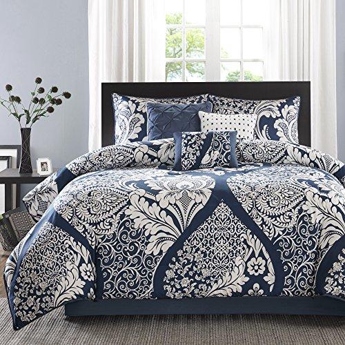 Madison Park Modern Elegant Damask Bedding White Indigo Blue Floral Medallion Reversible Cotton King Comforter Set (7 Piece in a Bag) (Madison Crib Set)
