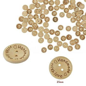 100x hecho a mano con botones de amor coser botón de madera 25mm 20mm 15mm