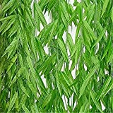 Yuan 1.8M Artificial Ivy Silk Diy Willow Leaf Rattan Wedding Ceremony Home Decoration Craft Party Garden Wall Decoration Green Garland Plant 20Pcs