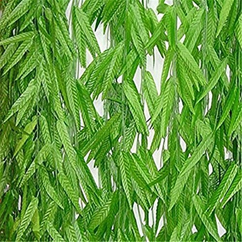 Yuan 1.8M Artificial Ivy Silk Diy Willow Leaf Rattan Wedding Ceremony Home Decoration Craft Party Garden Wall Decoration Green Garland Plant (Single Branch Wall Decoration)