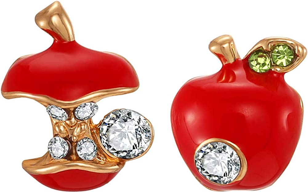 FAMARINE 3D Lifelike Red Cherry Drop Earrings Cute Funny Acrylic Resin Fruit Gold Dangle Earring for Girls Women Kids Gifts with Box