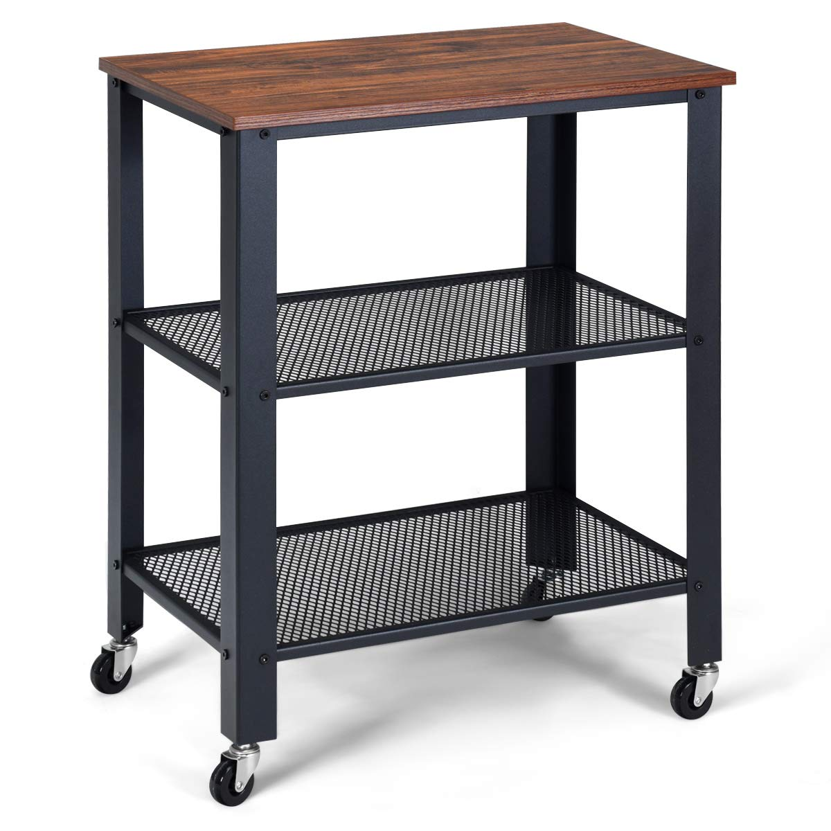 Giantex Microwave Cart Wooden 3-Tier W Storage Shelf and Rolling Casters, Industrial Style Metal Frame for Kitchen, Living Room Accent Furniture for Living Room Rolling Serving Cart Net-Brown