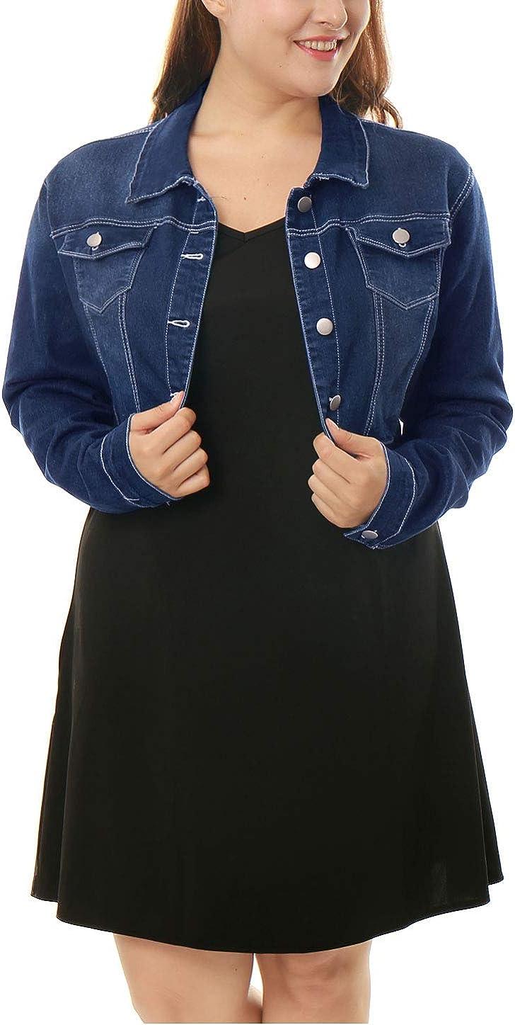 uxcell Femmes Grande Taille ferm/é Cropped Veste Jean