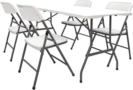 AMANKA Juego de Muebles de Jardín - Mesa 180 cm con 4 Sillas Grupo de Asientos Plegable Impermeable: Amazon.es: Jardín