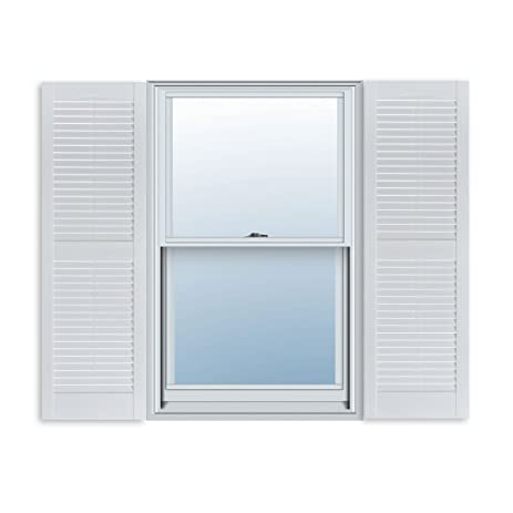 Superbe 15 Inch X 39 Inch Standard Louver Exterior Vinyl Window Shutters, Paintable  (Pair)
